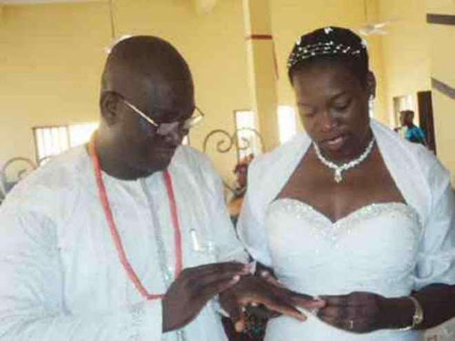 Hakeem Bello with his new wife.